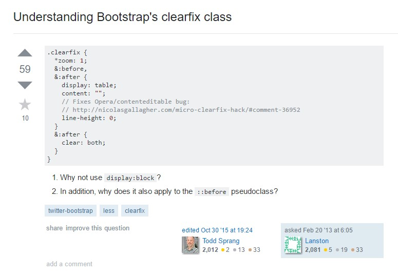 Realizing Bootstrap's clearfix class